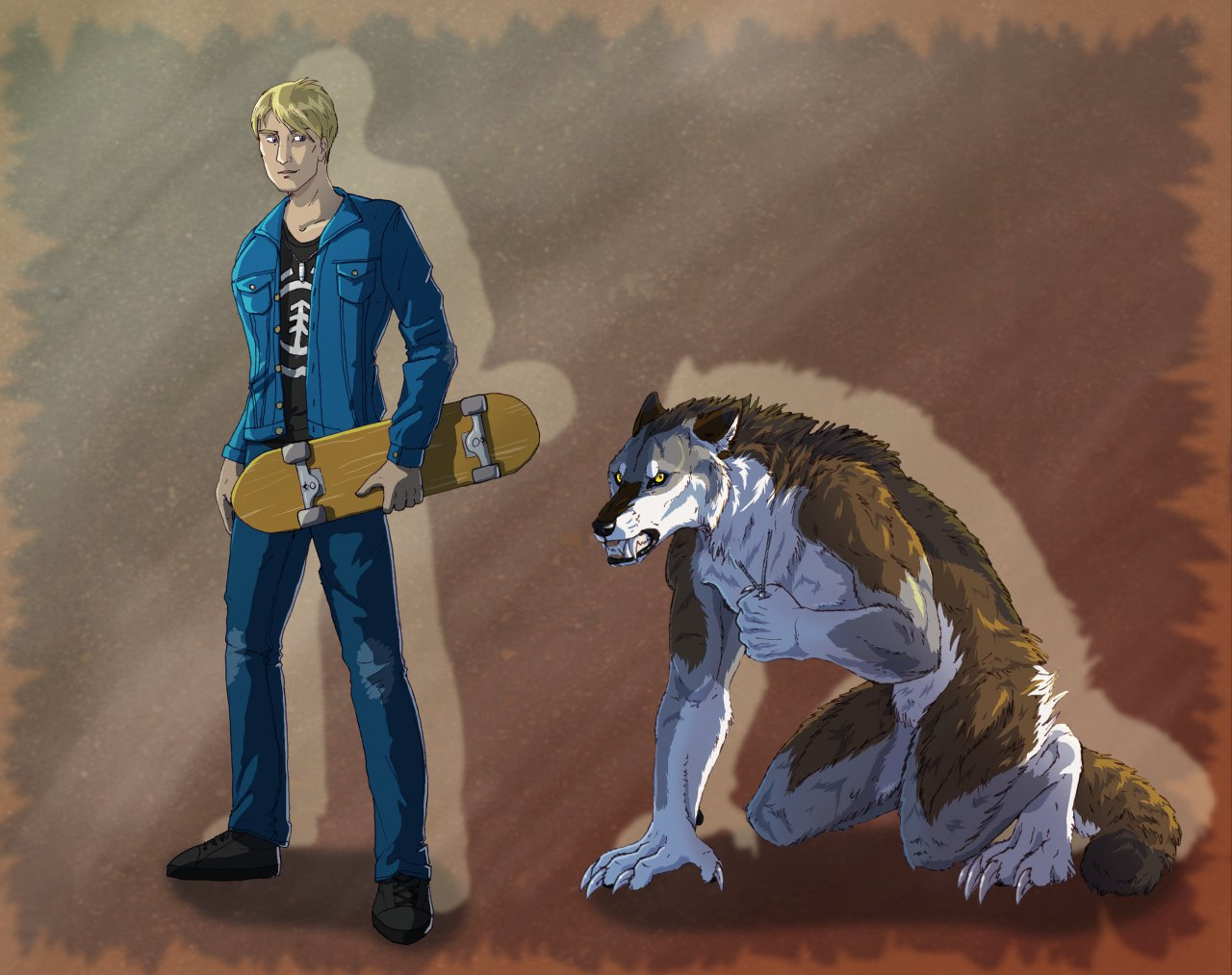 Safeguarding Humanity by Tacimur                              A companion shot of Alex and his werewolf form.                                                          When he shifts for the first time, Alex wonders briefly if the silver of his necklace is what is keeping him sentient. Whether true or not, he doesn't want to risk losing it.