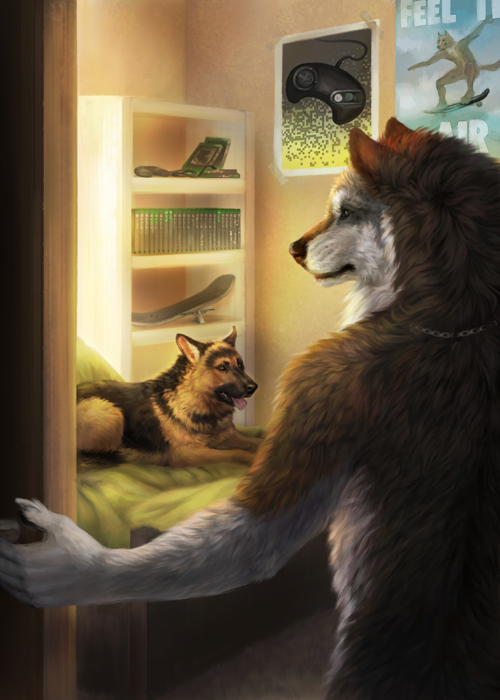 Werewolf Tale II Back Cover by Wolnir                              As the story progresses, Alex's German Shepherd, though distrustful of Alex when shifted, comes to be more accepting of his new form.
