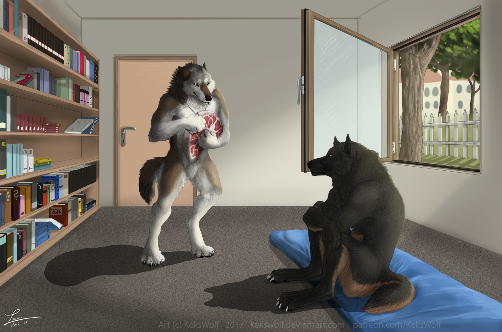 An Unexpected Guest by Kekswolf                              With his hunger building, Alex hears and then sees Shane entering his backyard, with a slab of meat in his paw.                              Only when Shane is let into the house is he allowed to have it.