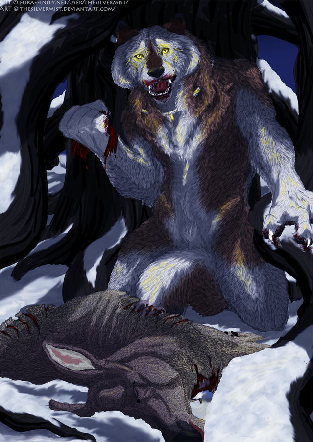 What Have I Done by thesilvermist                              Alex kneels over the gutted carcass of the deer he killed during his first full moon.                              When a cover design for Werewolf Tale was being considered, this piece and the scene it depicted stuck out the most to me.