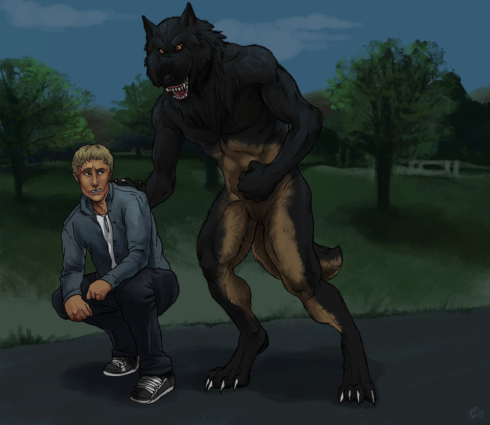 Forced Submission by lycanthropful                              In the finale of Werewolf Tale, Alex confronts Shane about the actions he took on the night he was bitten.                              When his emotions boil over and cause offense to Shane, he's snarled into a crouch and held down, long enough for Shane to give him a piece of his mind.